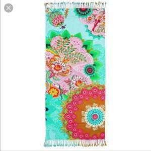 Desigual floral towel pareo blanket green blue